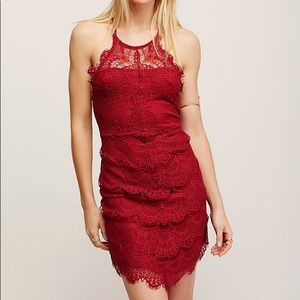 Free People Red Lace dress XS